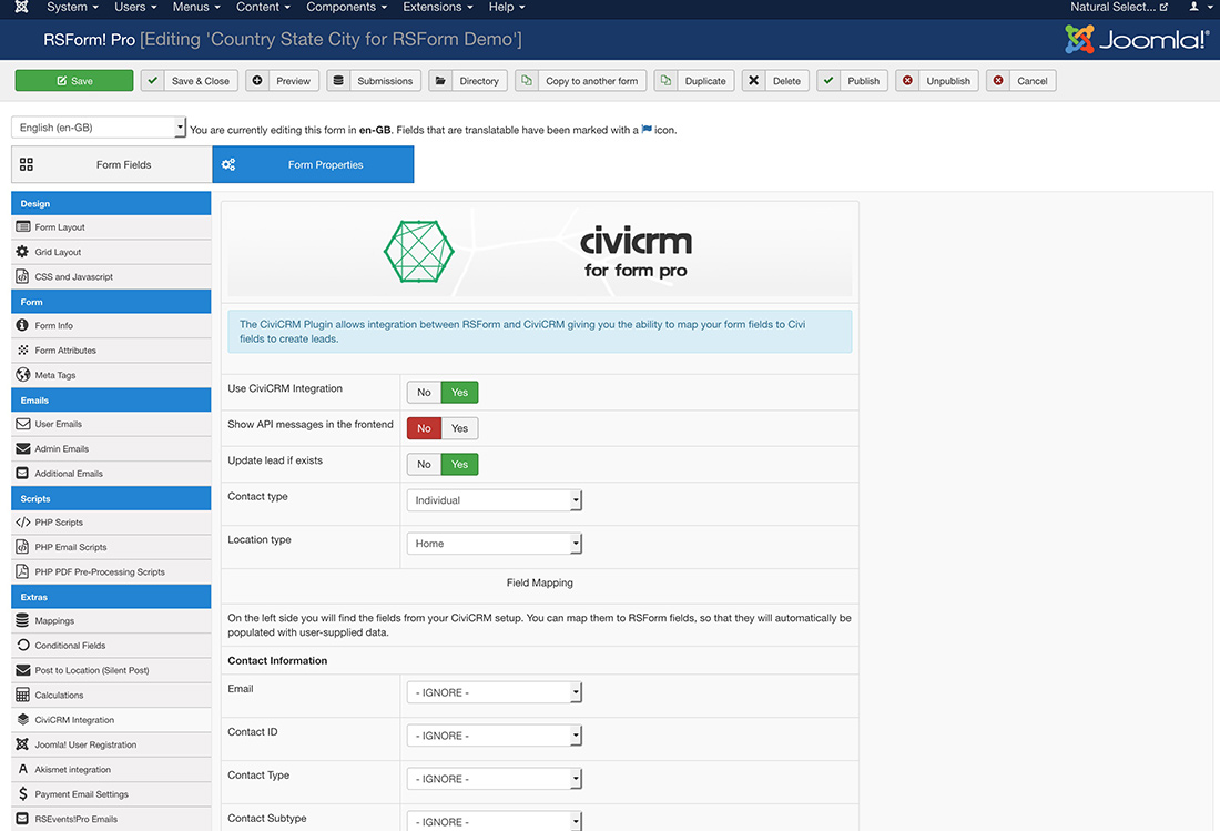CiviCRM for RSForm Dashboard