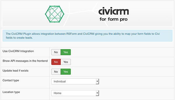 civicrmforrsform settings
