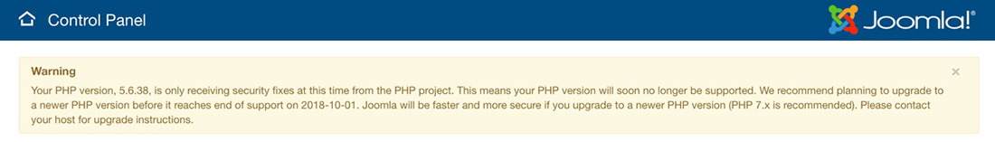 joomla supported php versions